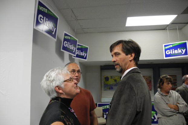 Belleville mayoral candidate Bill Glisky is embracing both social media and traditional print advertising.  He's pictured here speaking with supporters at his campaign launch party Sept. 17.  (Photo: Amanda Lorbetski)