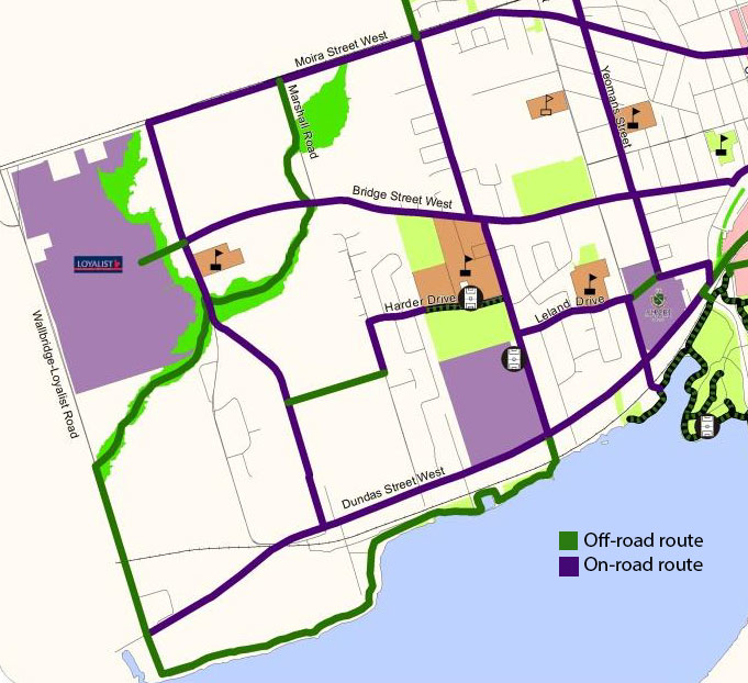 Part of the proposed bike route for the city. The green section connecting to Loyalist College will require additional funding that the city will not provide.