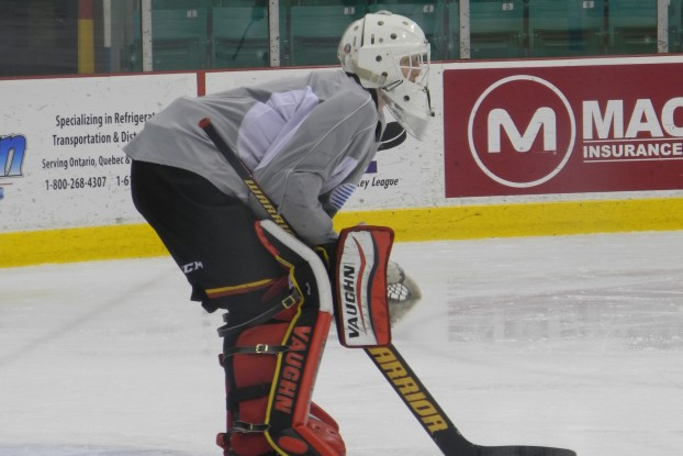 Connor Hicks, Belleville Bulls backup goaltender stands at the top of crease awaiting shots at practice. Photo by: William Proulx