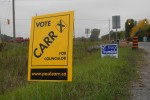 Campaign signs for mayor and Thurlow council candidates can be found throughout the area. Photo by Amanda Lorbetski