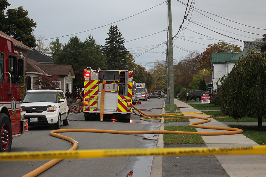 Belleville emergency services block off a portion of Sinclair Street due to a house fire. Photo by Katie Coleman
