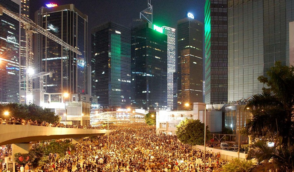 Thousands of protesters have been gathering in the Central district in Hong Kong since Sunday. Photo from Wikimedia Commons
