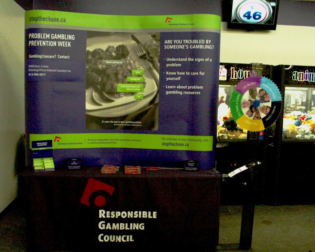 The Responsible Gambling Council's annual booth at the Lions Club Bingo hall in Belleville. Photo by Suzanne Coolen