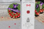 Wreaths laid on the cenotaph at Memorial Park during Remembrance Day ceremony. Photo by Cam Kennedy.