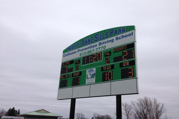 The score just after half has the Knights up by a few touchdowns. Photo by Kate Shumakova