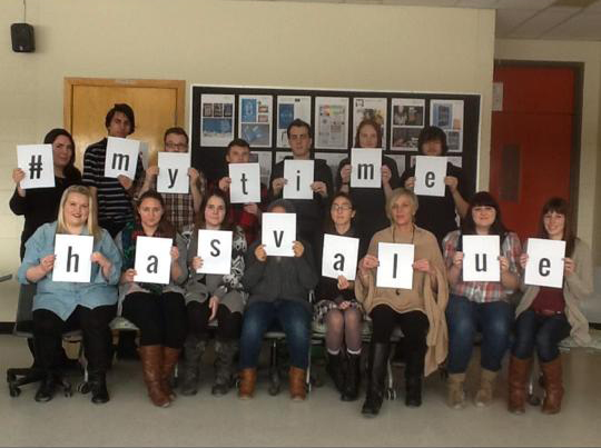BELLEVILLE – Third-year graphic design students show their support for #MyTimeHasValue.
