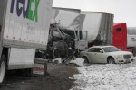 The cab of a tractor-trailer destroyed after the massive collision early Wednesday morning.