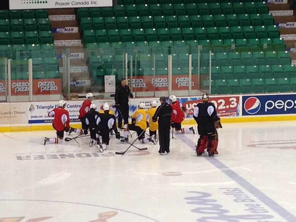 Belleville Bulls assistant coach Jason Supryka addresses the team at practice on Wednesday. Photo by Bevan Hamilton