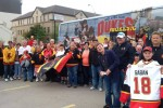 Gina Giouroukos' photo of the Bulls fans from one of the two buses.