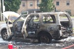 Vehicle after fire in the parking lot of Westside Cafe on Avondale Rd. Photo by Susan Hall.