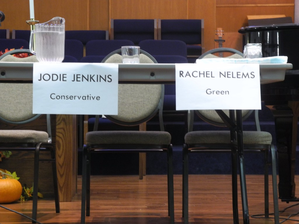 Empty seats were left for Conservative Jodie Jenkins and Green candidate Rachel Nelems after they declined the Monday night debate at St. Matthews United Church. Several debate organizers in the region have left empty seats for the candidates that decline their events. Photo by Joseph Quigley
