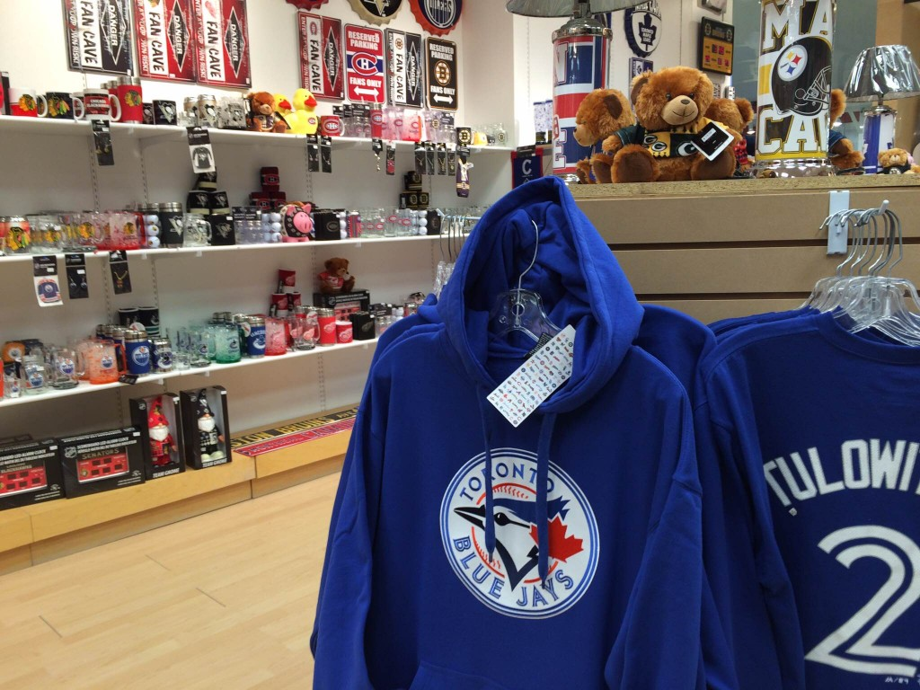 Toronto Blue Jays merchandise in the Ultimate Fan in the Quinte Mall. Photo by Sean McIntosh