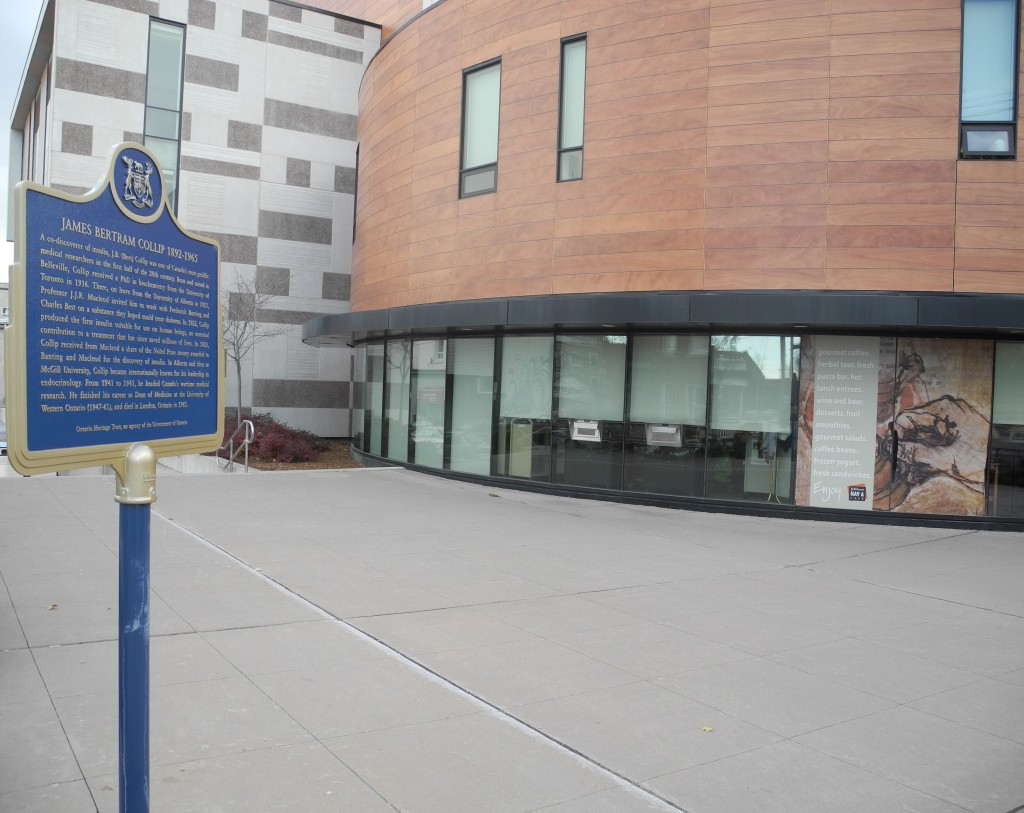 A heritage plaque dedicated to Collip was put in place outside the Belleville Public Library last year. Photo by Joseph Quigley
