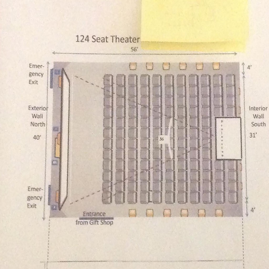 The basic layout of the 124 seat theatre. Courtesy of the National Air Force Museum Foundation.