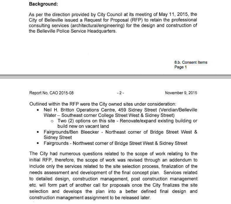 The background details written on the request to city council to hire a consulting firm to help decide on where to build a new police headquarters. Photo courtesy City of Belleville