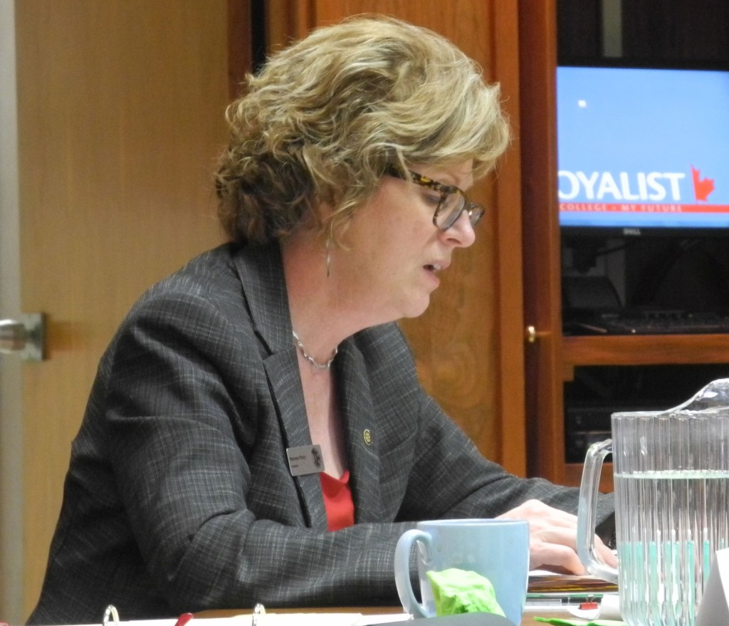 Loyalist president Maureen Piercy delivers her report to the board of governors. Photo by Joseph Quigley, QNet News