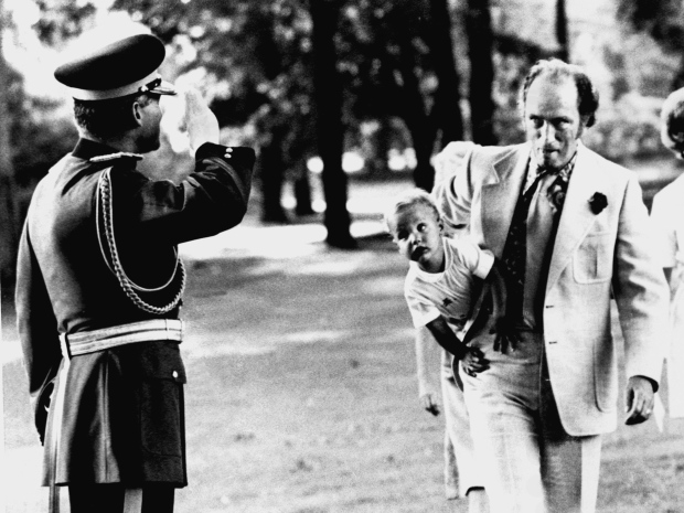 Photojournalist Rod MacIvor snaps the famous photo of Pierra Trudeau and his son Justin.