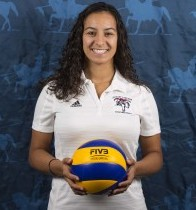 Women's volleyball coach Dominique Dawes. Photo from loyalistlancers.com