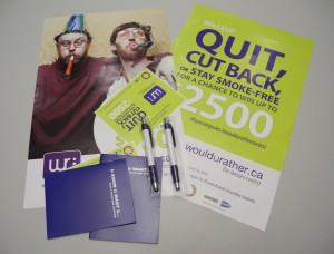 Promotional poster advertising the wouldurahter contest to help young adults quit smoking. Photo by Stephanie Clue, QNet News
