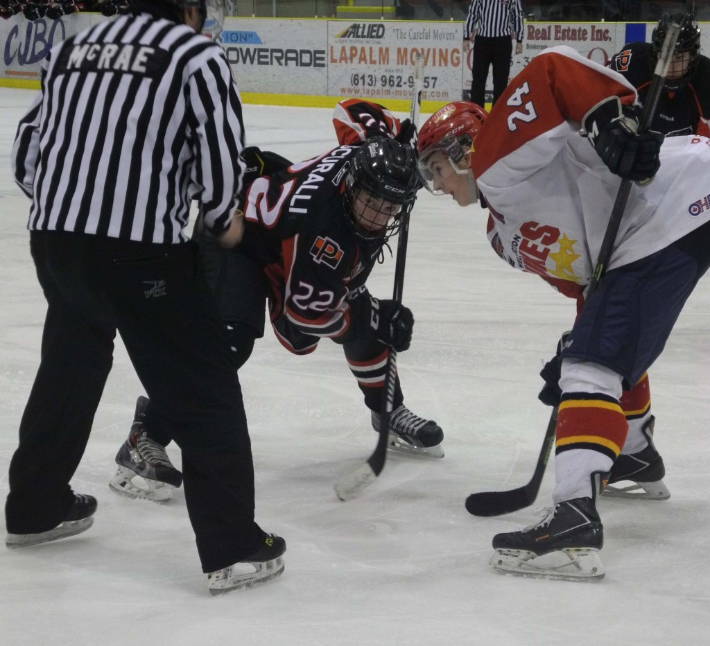 Ben Sokay of the Wellington Dukes takes a face-off against Owen Scuralli of the Pickering Panthers. Photo by Cam Kennedy, QNet News.
