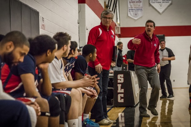 KINGSTON (02/03/16) – With only seconds remaining in the game, Loyalist Lancers head coach Ryan Barbeau (right) and assistant coach Jim Barbeau (centre) try to rally the troops for one last push in Kingston Wednesday night. The Lancers would lose a close game to the St. Lawrence College Vikings 67–60. Photo by Nick Tardif