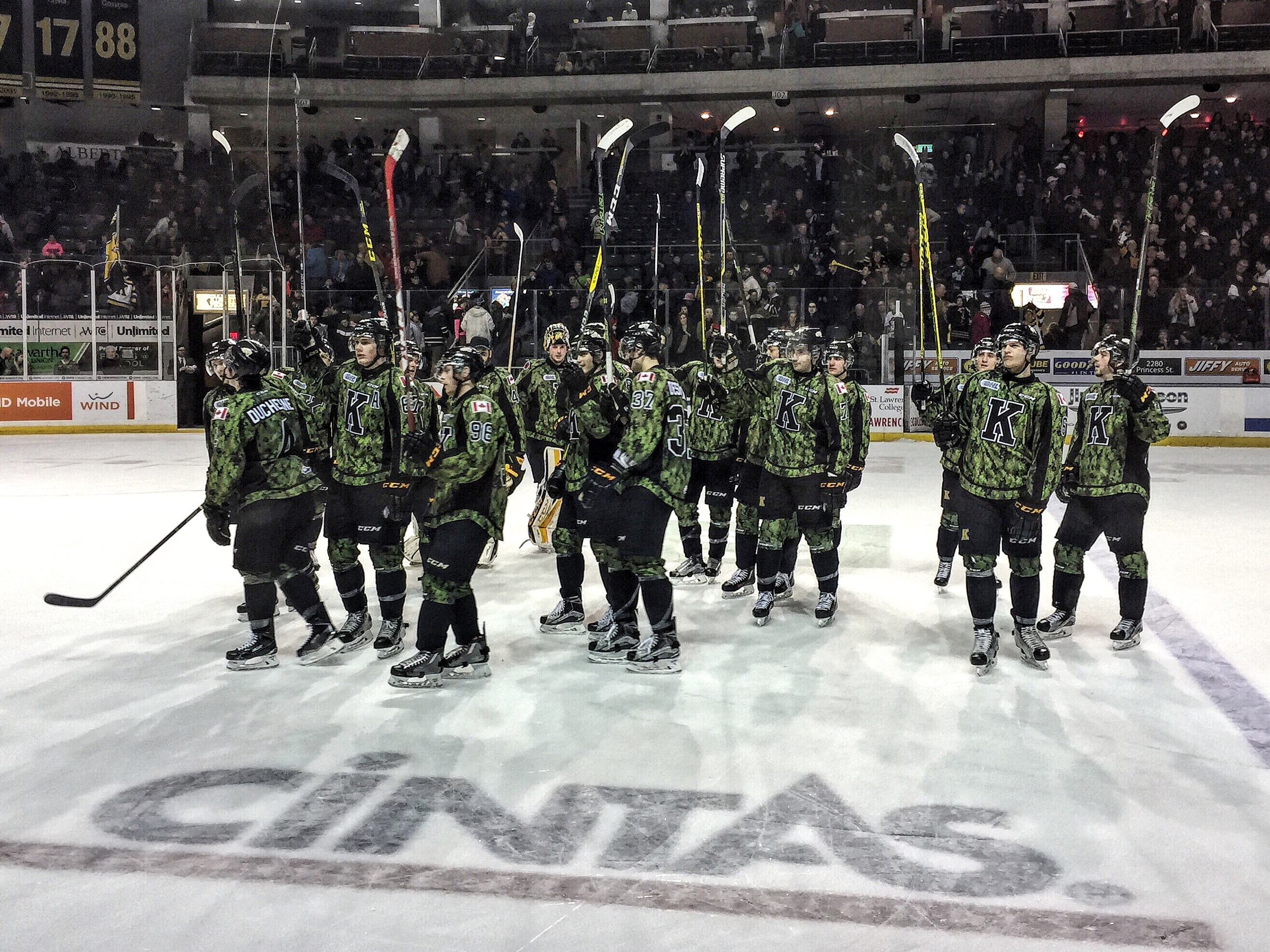 The Kingston Frontenacs 'Salute the Troops' sitting in section 113 after a big 6-2 win over the London Knights. Photo by Tyler Penney