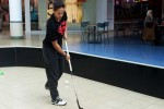 Canadian Under-19 Women's Floorball player Livy Greaves shows off her stickhandling abilities at the Quinte Mall during a fundraiser event last Saturday. Photo by Matthew Murray, QNet News