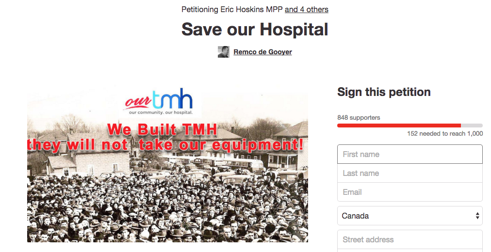 An online petition by the Our TMH community advocacy group. The group seeks to stop a proposal to move day surgeries and community equipment from Trenton Memorial Hospital to Belleville.
