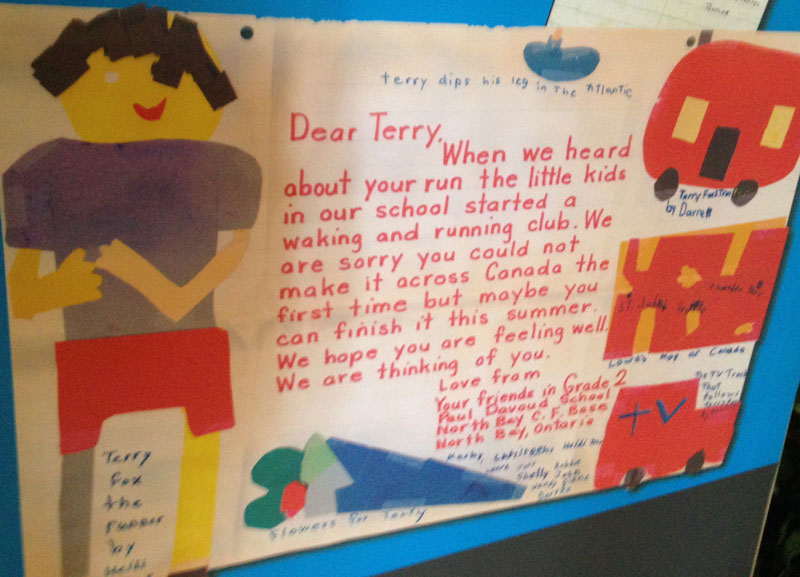 The Belleville exhibit includes a letter that Terry Fox received from a Grade 2 class in North Bay, Ont., after he had to stop his cross-Canada run when his cancer came back. Photo by James Gaughan, QNet News
