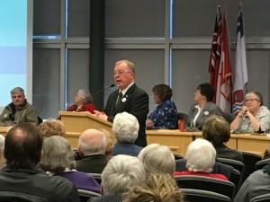 Our TMH Co-Chair Mike Cowan speaks to the gathering at Quinte West City Hall Wednesday night.