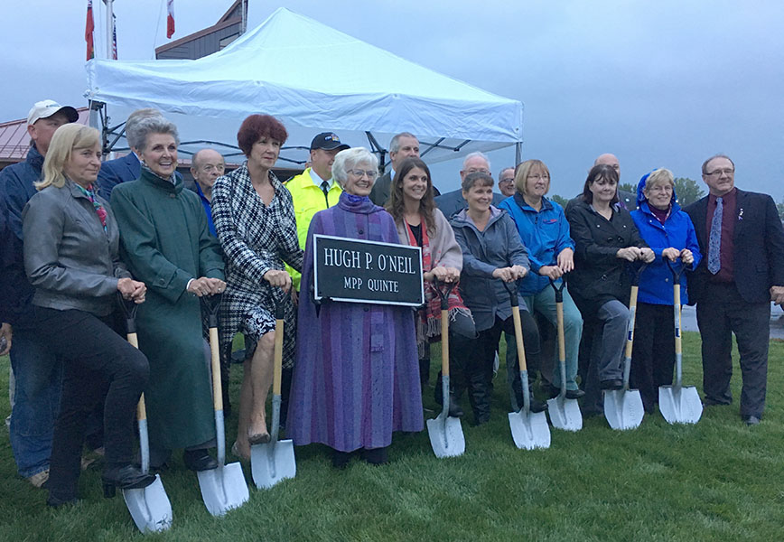 September 26, 2016 Trenton– Donna O'Neil is surrounded by family and committee members that worked on the design. Construction begins soon.