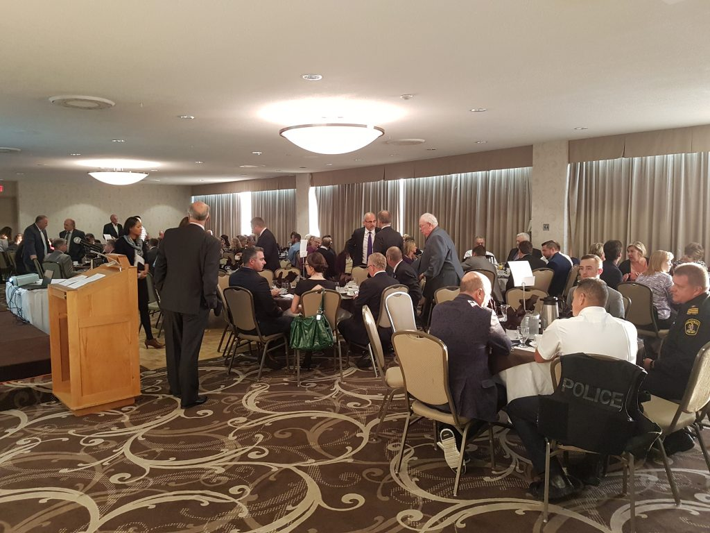 Citizens gather to hear president and CEO of Via Rail speak about his plans for the future. Photo by Makala Chapman, QNet News