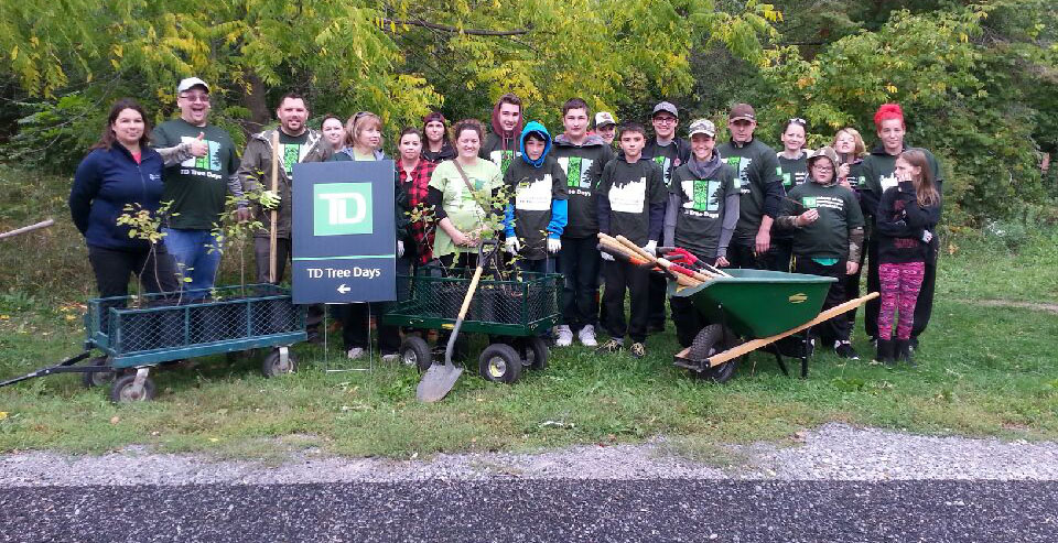 TD bank employees and volunteers at the TD Tree Days event that took place Saturday at Quinte Conservation. Photo by Haley Rose, QNet News