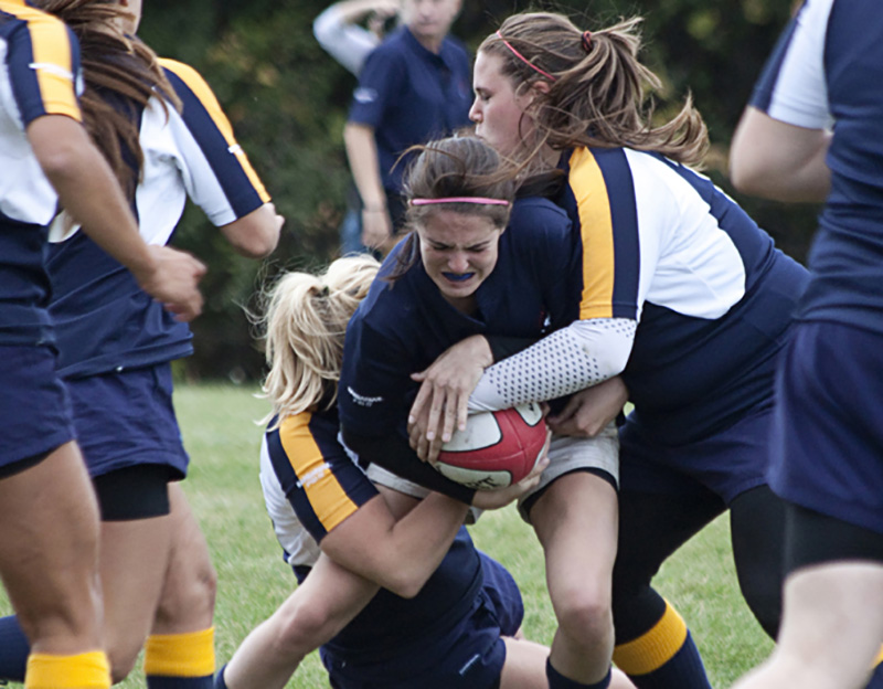 Loyalist Lancers women's rugby team plays against Humber on Oct. 2, 2016. Photo by QNet.