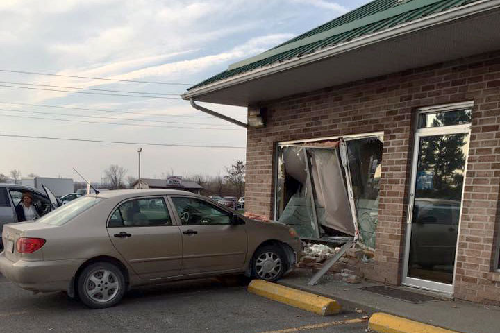 The aftermath of a car crashing into Dr. Martin Brain's podiatrist office in Belleville earlier this morning. Photo credit: Scott Johnson