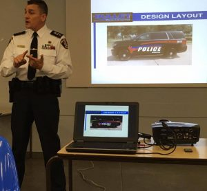 Deputy Chief Ron Gignac presents the new look and model of Belleville Police cruisers Photo by Justin Medve, QNet News