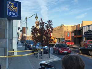 Crime scene tape outside of the RBC branch at Dundas Street West after an incident occurred on Tuesday afernoon
