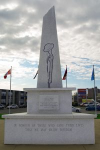 The cenotaph across from the Royal Canadian Legion Branch 110 in downtown Trenton. The Legion asks people to place the poppies on the cenotaphs at the end of Remembrance Day. Photo by Matthew Murray, QNet News