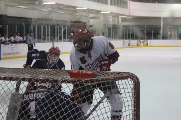 Quinte Red Devils forward Emmett Pierce attacks the net in second-period action Wednesday night at the Quinte Sports and Wellness Centre. Photo by Brock Ormond, QNet News