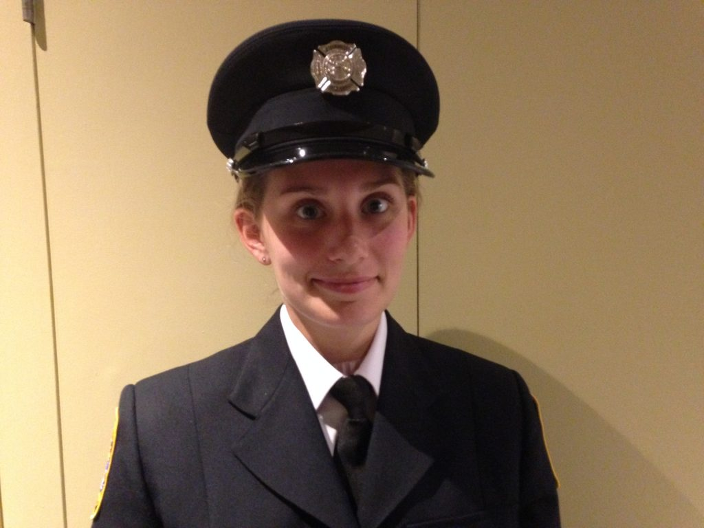 Jocyelyn Brethour is one of the first two female firefighters sworn in for Belleville. Photo by James Gaughan QNet News