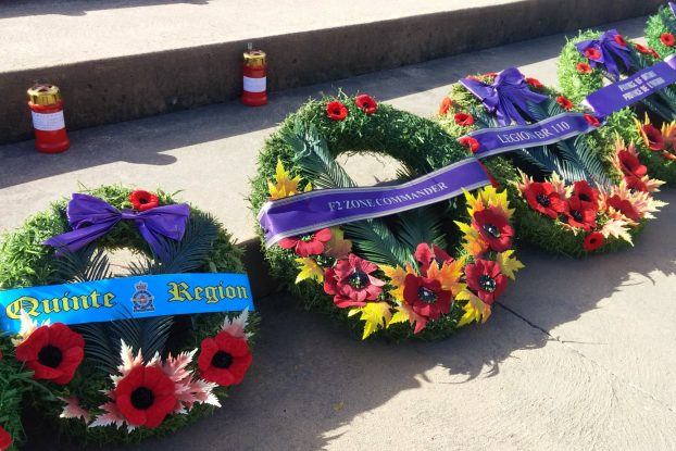 Some of the wreaths placed on the Trenton cenotaph during the Remembrance Day ceremony.  Photo by Matt Murray, QNet News