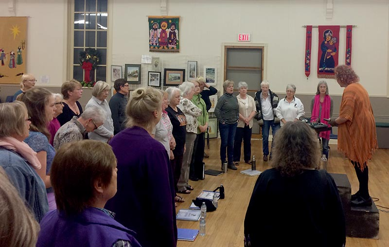 The Picton chapter of the Shout Sister! choir practices on, Nov. 3, 2016. Photo by Casey Horn, QNet News.