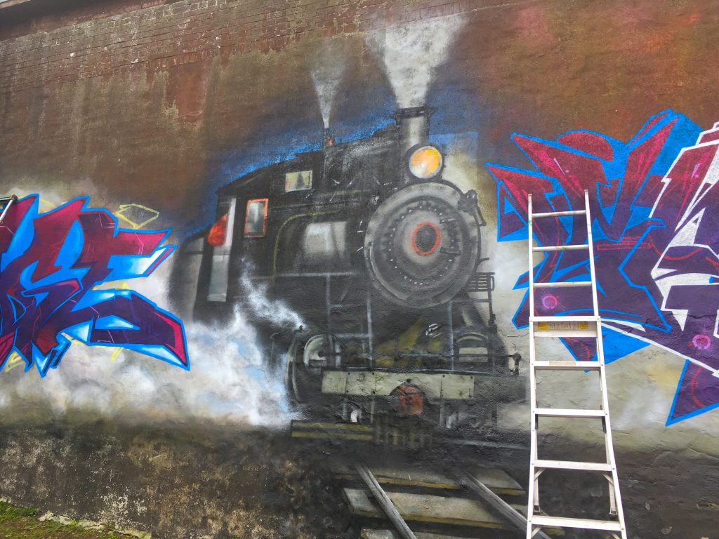 The Heritage Graffiti Mural That Is Being Produced Beside The Belle Pub By Artists Serna And Sage Belleville Is A Train City And Theres History In That